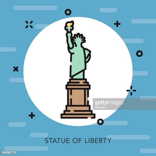 statue of liberty open outline usa icon - ellis island stock illustrations, clip art, cartoons, & icons