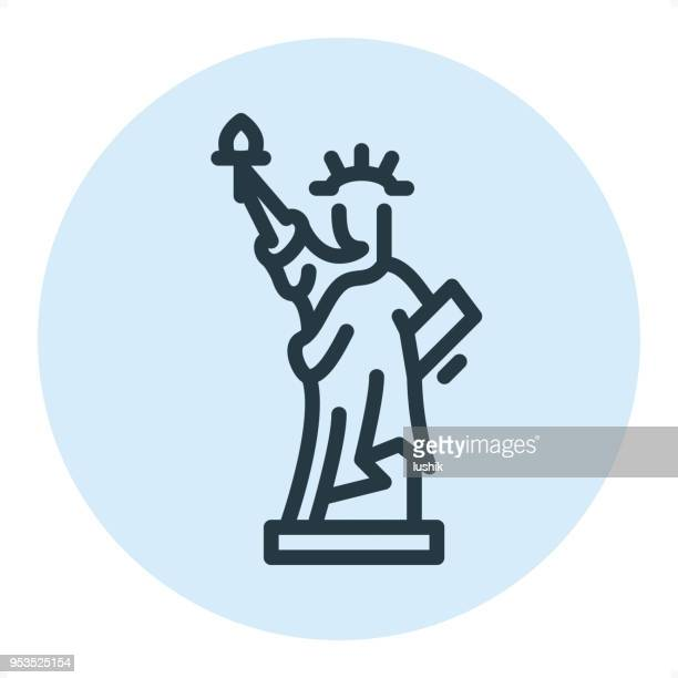 statue of liberty - pixel perfect single line icon - liberty island stock illustrations, clip art, cartoons, & icons