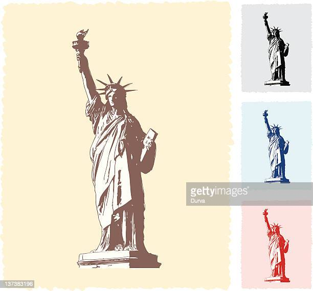 statue of liberty sketch - freedom stock illustrations