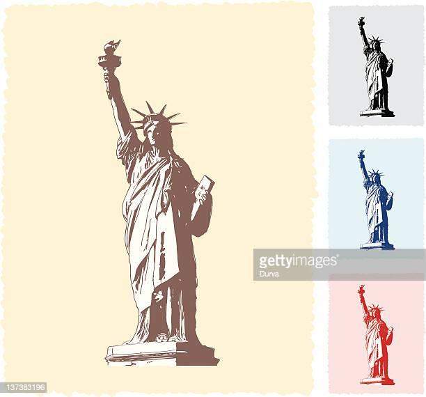ilustraciones, imágenes clip art, dibujos animados e iconos de stock de estatua de la libertad de sketches - estatuadelalibertad
