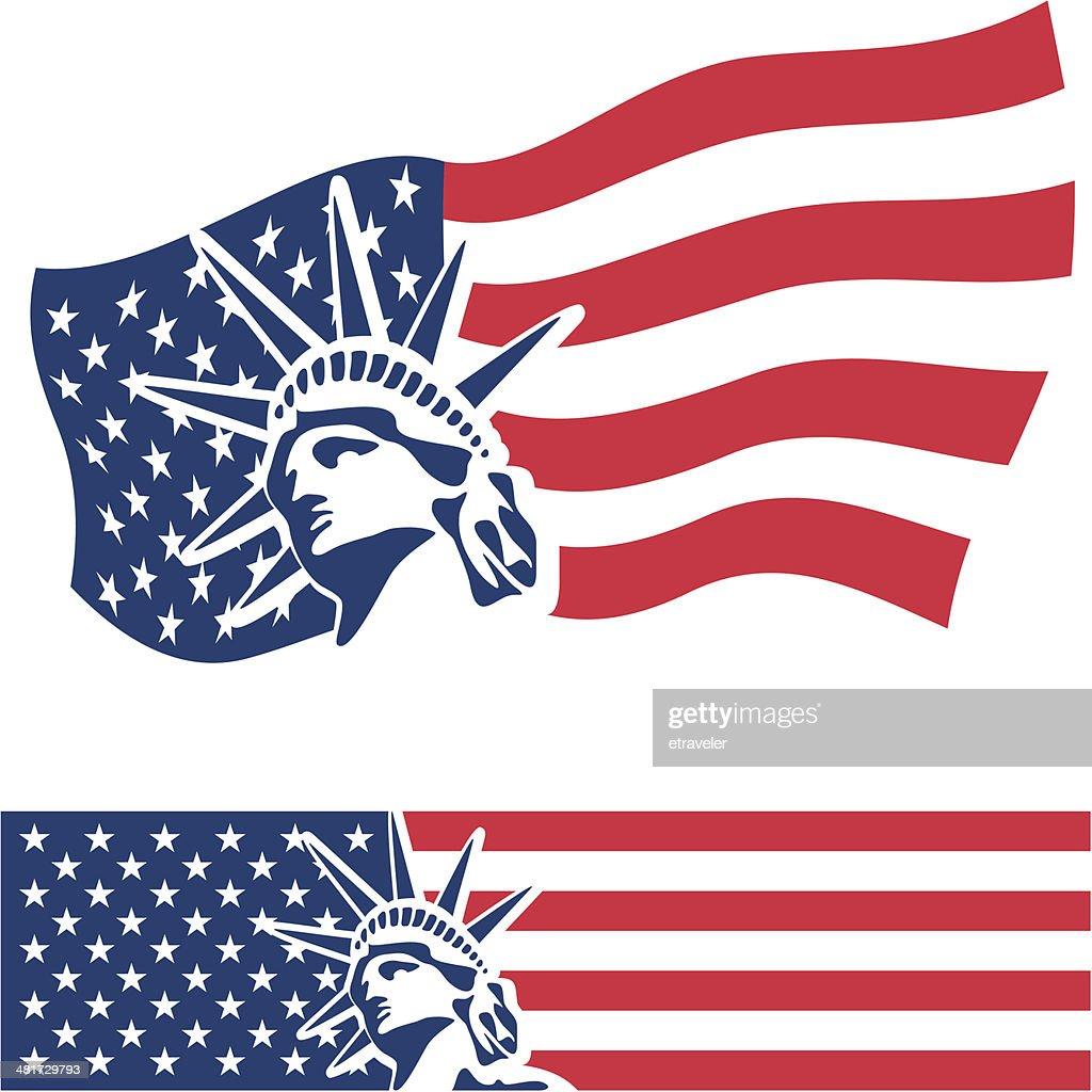 Statue of Liberty. USA flag