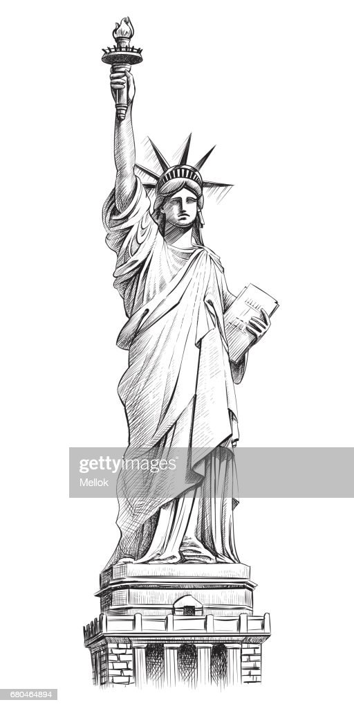 Statue of liberty, vector hand drawn illustration.