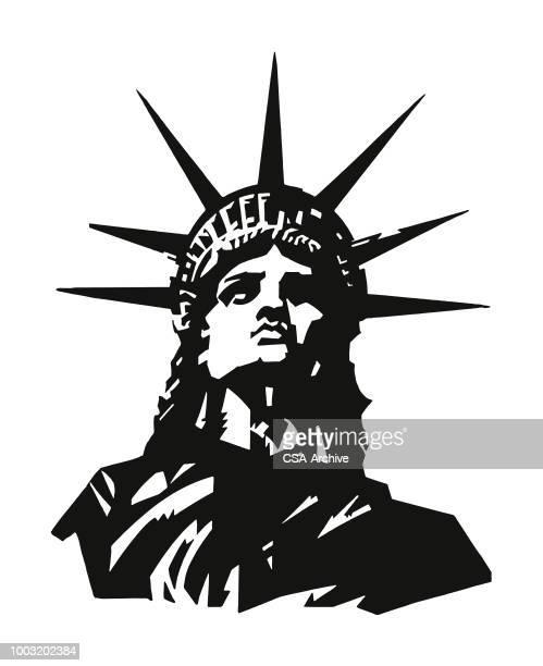 statue of liberty - freedom stock illustrations