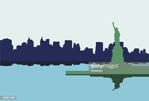 statue of liberty - battery park stock illustrations, clip art, cartoons, & icons