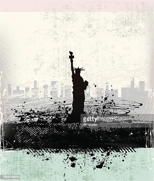 statue of liberty - ellis island stock illustrations, clip art, cartoons, & icons