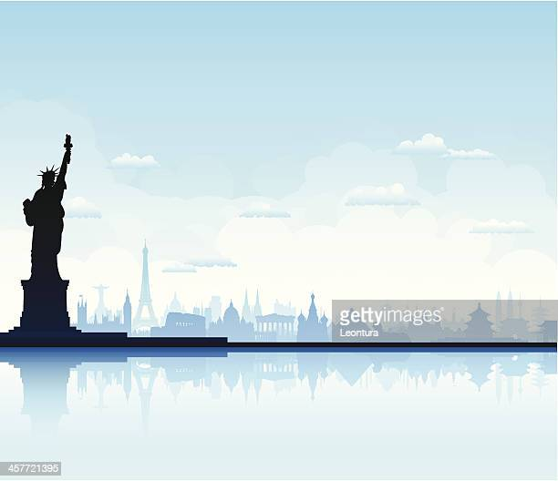 statue of liberty - red square stock illustrations, clip art, cartoons, & icons
