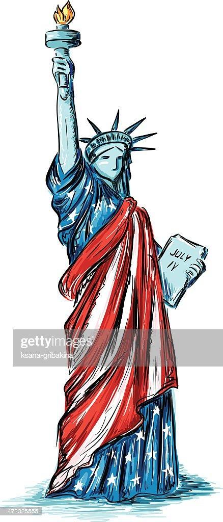 Statue of Liberty (usa flag colors)