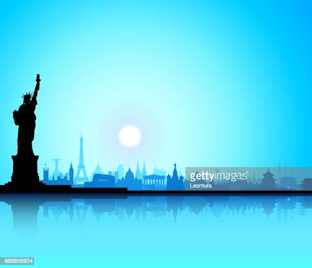 statue of liberty (all buildings are complete and moveable) - liberty island stock illustrations, clip art, cartoons, & icons