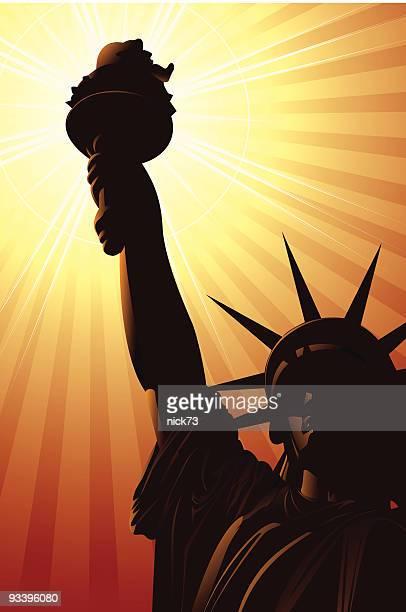 statue of liberty - statue of liberty new york city stock illustrations, clip art, cartoons, & icons
