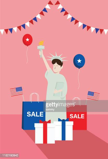 statue of liberty with a gift and a shopping bag - liberty island stock illustrations, clip art, cartoons, & icons