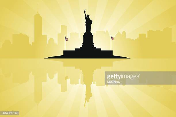 statue of liberty with new york city skyline - liberty island stock illustrations, clip art, cartoons, & icons