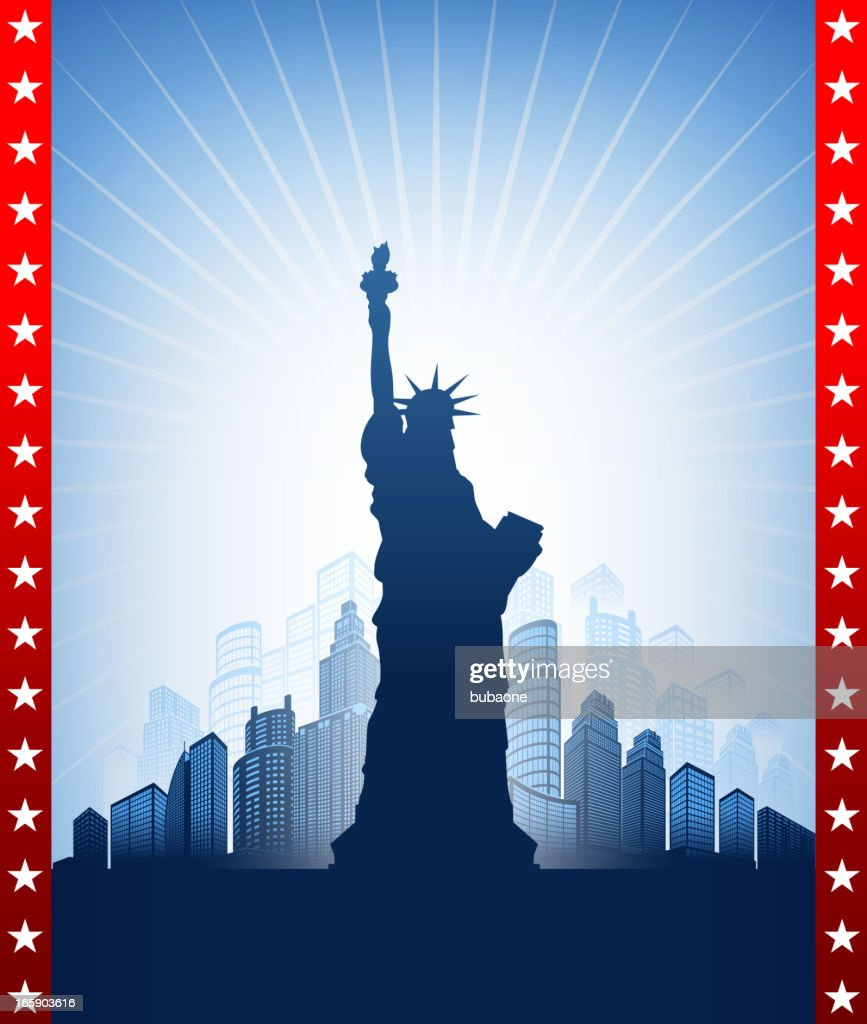 Statue of Liberty with skyline panoramic on American Patriotic Background : stock illustration