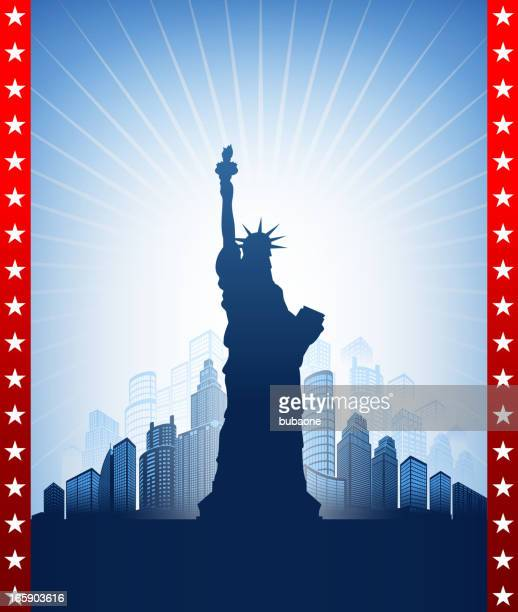 statue of liberty with skyline panoramic on american patriotic background - ellis island stock illustrations, clip art, cartoons, & icons
