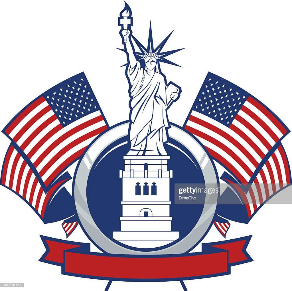 Statue of Liberty with U.S. flag