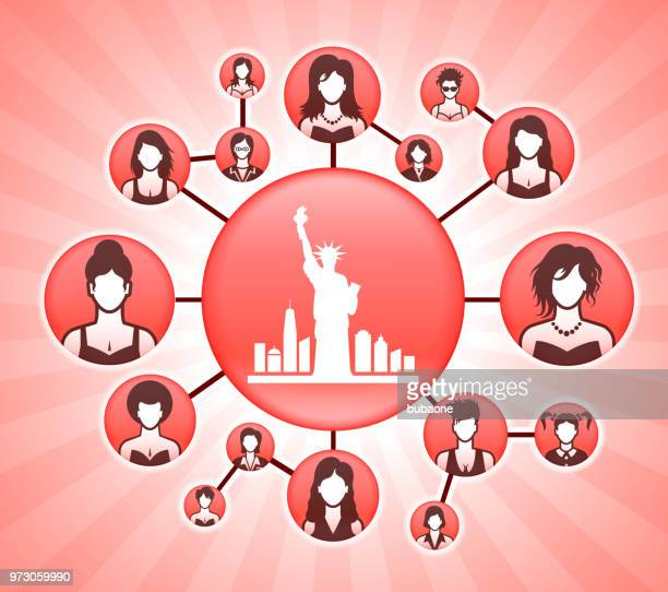 statue of liberty  women's rights pink vector background - liberty island stock illustrations, clip art, cartoons, & icons