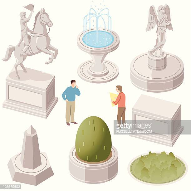 statues - fountain stock illustrations, clip art, cartoons, & icons