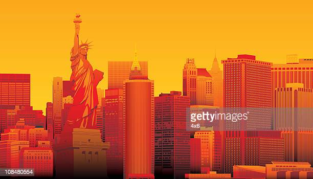 statute of liberty, new york - liberty island stock illustrations, clip art, cartoons, & icons