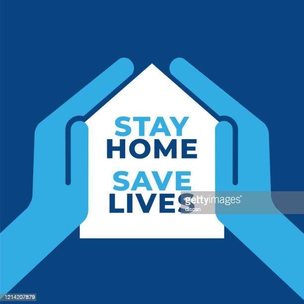 i stay at home awareness social media campaign and coronavirus prevention. - spreading stock illustrations