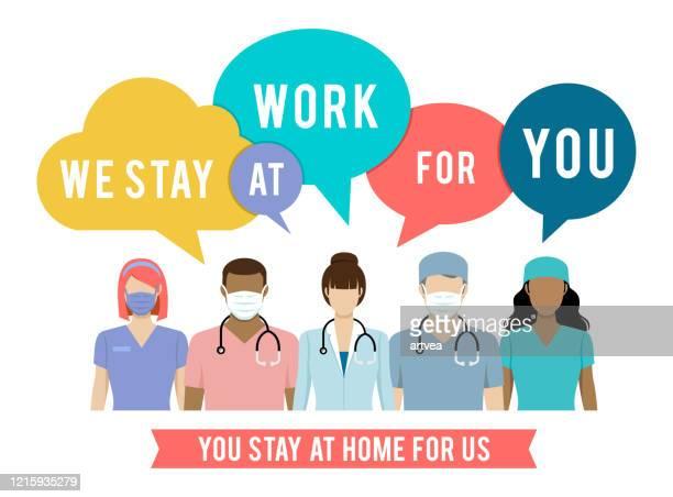 ilustrações de stock, clip art, desenhos animados e ícones de stay at home. coronavirus and covid-19 - profissional de enfermagem