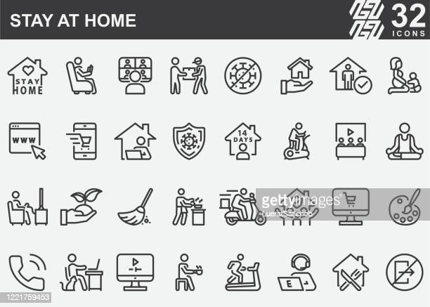 stay at home line icons - illness prevention stock illustrations