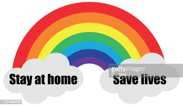 stay at home rainbow - illness prevention stock illustrations