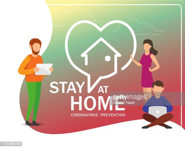 stay at home - stay at home order stock illustrations