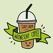 Stay calm with Wednesday coffee word smile coffee cup