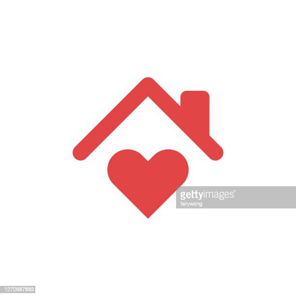 stay home concept,home love heart icon - illness prevention stock illustrations