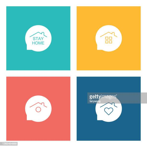 stay home concept,home love heart icons - illness prevention stock illustrations