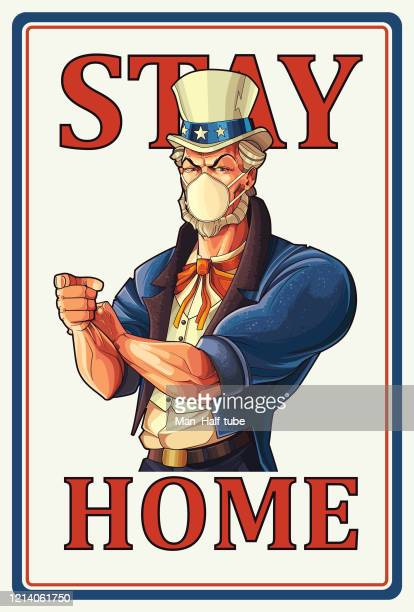 stay home, uncle sam poster - us military stock illustrations