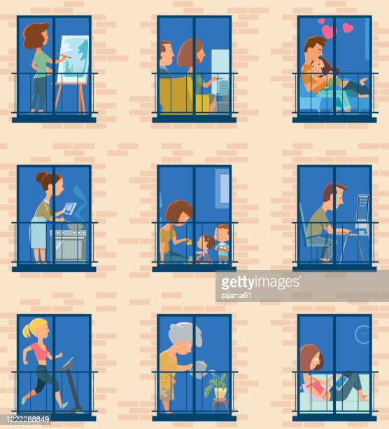stay home. windows with people inside their houses - senior citizen clipart stock illustrations