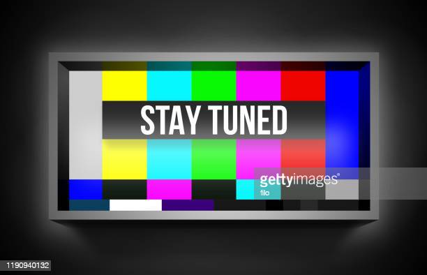 stay tuned retro television error screen - projection screen stock illustrations