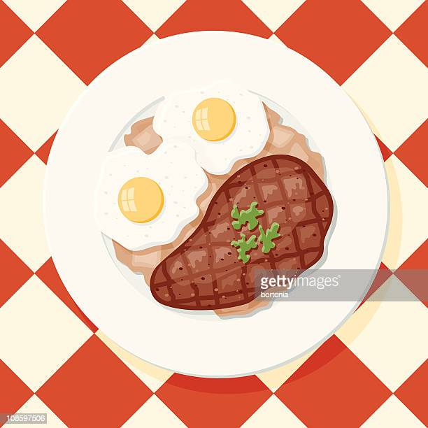 steak and eggs with hash browns - steak plate stock illustrations, clip art, cartoons, & icons