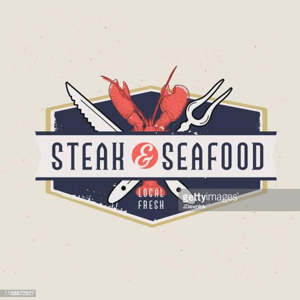 ilustraciones, imágenes clip art, dibujos animados e iconos de stock de etiquetas de filetes y mariscos con diseños de texto, así como elementos de parrilla - pescadoymariscos