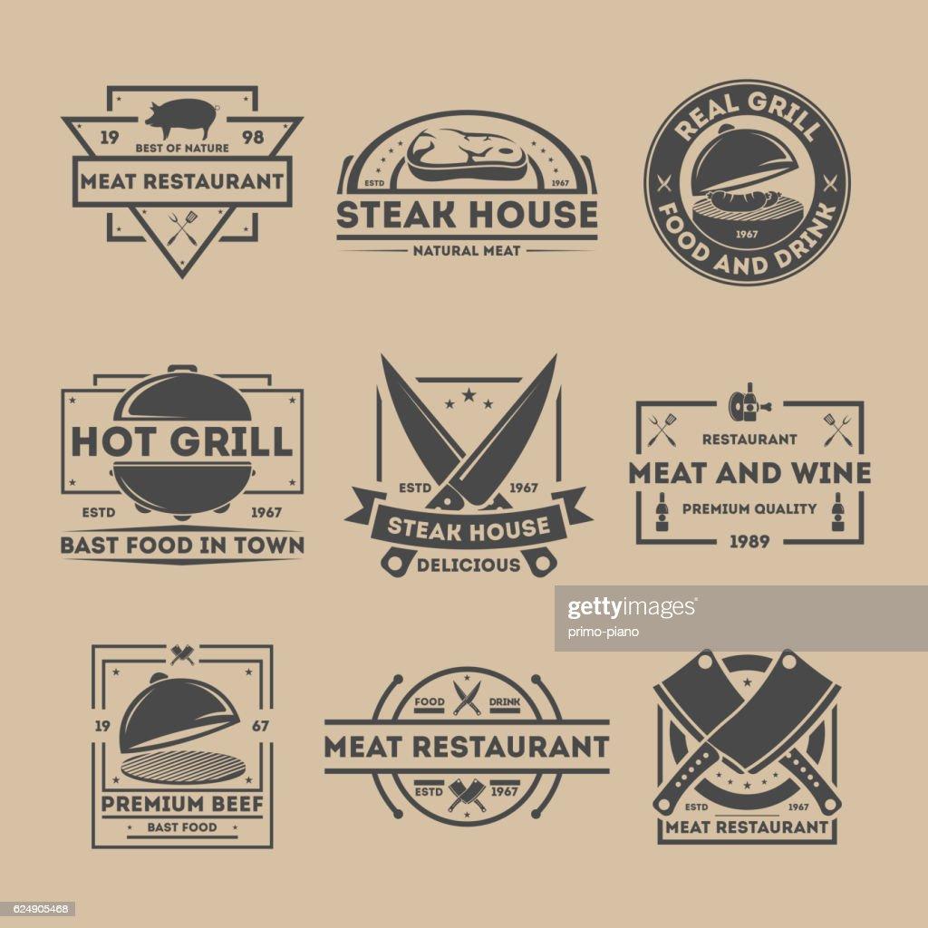 Steak house vintage isolated label set