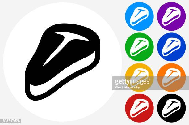 steak icon on flat color circle buttons - t bone steak stock illustrations, clip art, cartoons, & icons