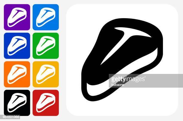 ilustraciones, imágenes clip art, dibujos animados e iconos de stock de grupo de botones de icono de filete cuadrado - chuletón