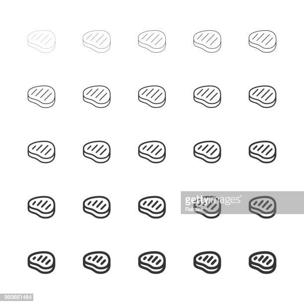 steak icons - multi line series - beef stew stock illustrations, clip art, cartoons, & icons