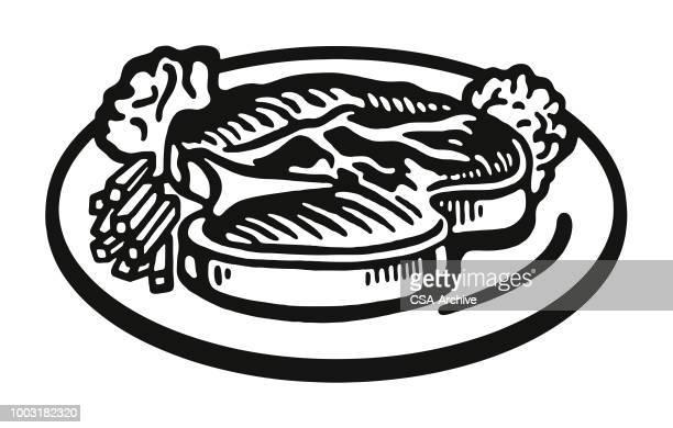 steak on a plate - steak plate stock illustrations, clip art, cartoons, & icons
