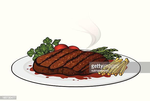 steak - steak plate stock illustrations, clip art, cartoons, & icons