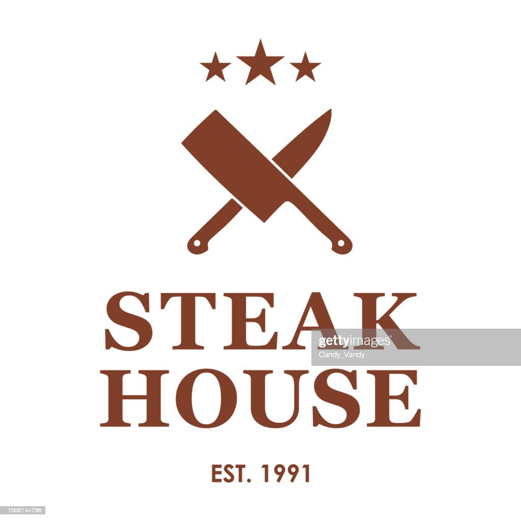 Steakhouse emblem with crossed knives. Steak house or meat store logo templates. Vector illustration.