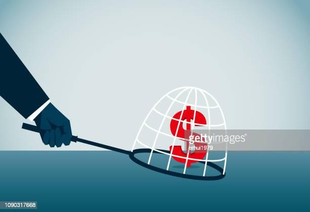 ilustraciones, imágenes clip art, dibujos animados e iconos de stock de robar-crimen - red de pesca