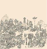 Steam city landscape.