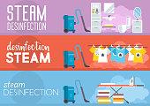 Steam Disinfection. Vector Flat Illustration.