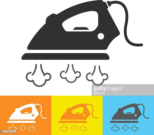 steam iron icon - iron appliance stock illustrations, clip art, cartoons, & icons