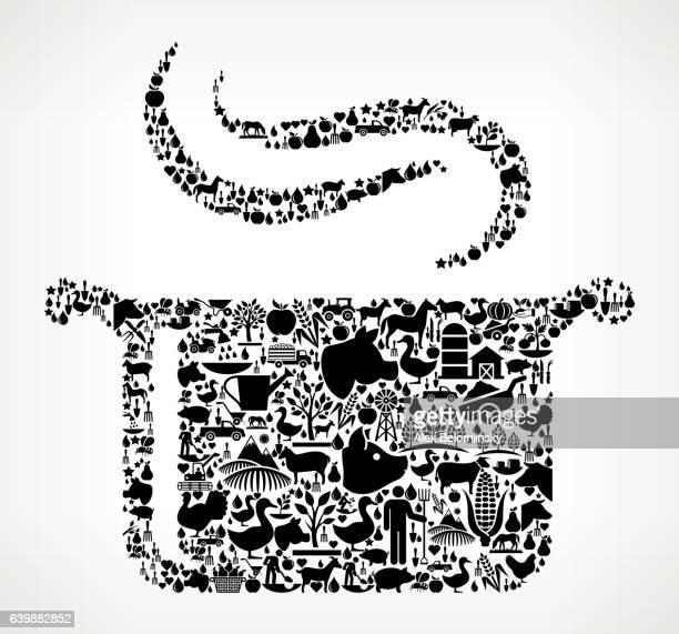 Steam Pot Farming and Agriculture Black Icon Pattern