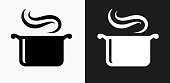 Steam Pot Icon on Black and White Vector Backgrounds