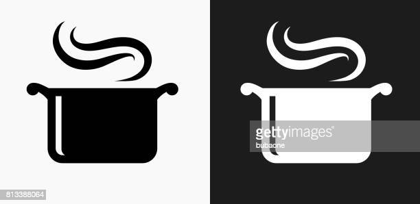 steam pot icon on black and white vector backgrounds - cooking pan stock illustrations