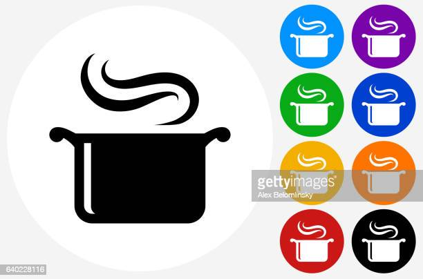ilustraciones, imágenes clip art, dibujos animados e iconos de stock de steam pot icon on flat color circle buttons - ollas y cacerolas