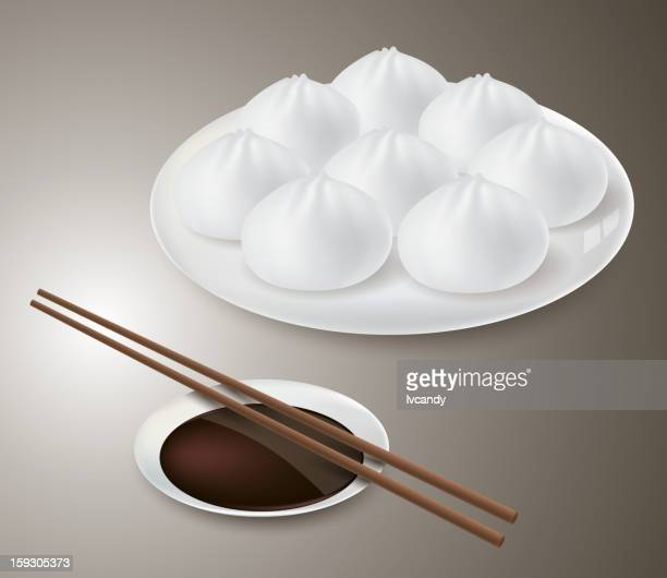steamed bun - ground beef stock illustrations